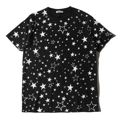 黑白满版大小星星 男女圆领短袖t恤